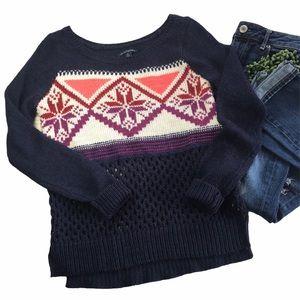 American Eagle Snowflake Waffle Knit Wool Sweater